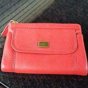 Fossil red fold wallet